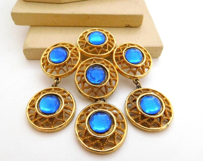 Featured listing image: Vintage Large Royal Blue Gold Tone Open Circle Charm Statement Brooch Pin V24