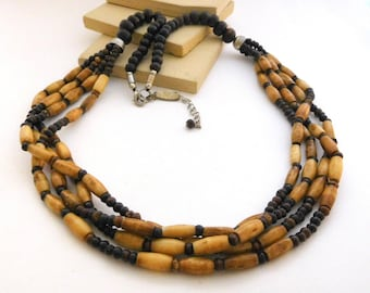 Retro NY & Co. Brown Wood Faux Bone Bead Layered Boho Tribal Necklace A46