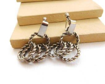 Vintage Silver Tone Rope Chain Ring Dangle Screw Back Earrings YY10