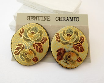 Vintage Genuine Ceramic Blue Brown Gold Gilded Flower Pierced Earrings CC50
