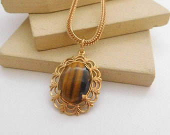 Vintage Brown Tiger's Eye Pendant Gold Aluminum Chain Necklace F44