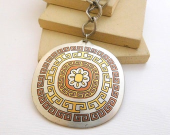 Vintage Reed & Barton Damascene Greek Key Mandala Pewter Pendant Necklace K18