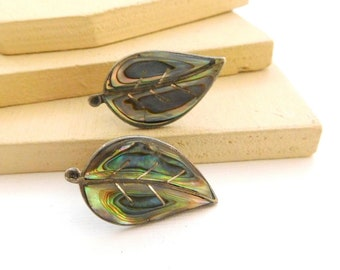 Vintage Mexico Alpaca Sterling Silver Abalone Shell Leaf Screw Back Earrings R24