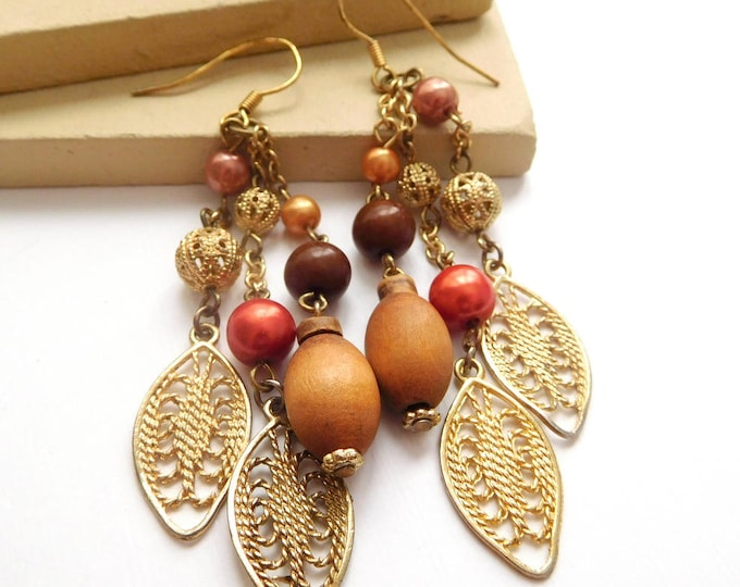 Featured listing image: Retro Long Brown Wood Pink Bead Gold Filigree Tassel Dangle Boho Earrings L43