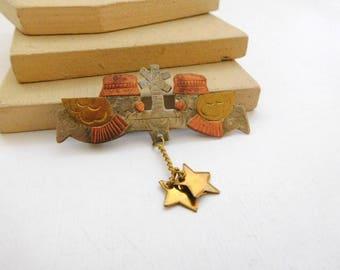 Vintage Mexican Folk Art Mixed Metal Angel Star Charm Brooch Pin A12