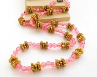 """Vintage Rose Pink & Gold Bead 23"""" Long Necklace VV23"""