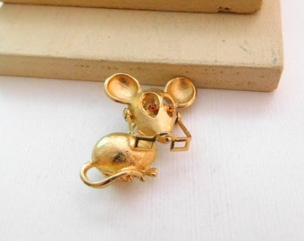Vintage Avon Gold Tone Rhinestone Mouse With Movable Glasses Brooch Pin N21
