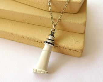 Retro Painted Black & White Lighthouse Pendant Silver Tone Chain Necklace BB31