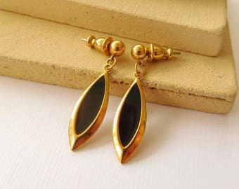 Retro Mod Vintage Lightweight Gold Black Enamel Marquise Dangle Earrings I10