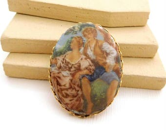 Vintage Fragonard Style Victorian Man Woman Couple Painting Brooch Pin RR22