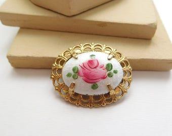 Vintage White Pink Enamel Guilloche Rose Flower Victorian Revival Brooch Pin D6