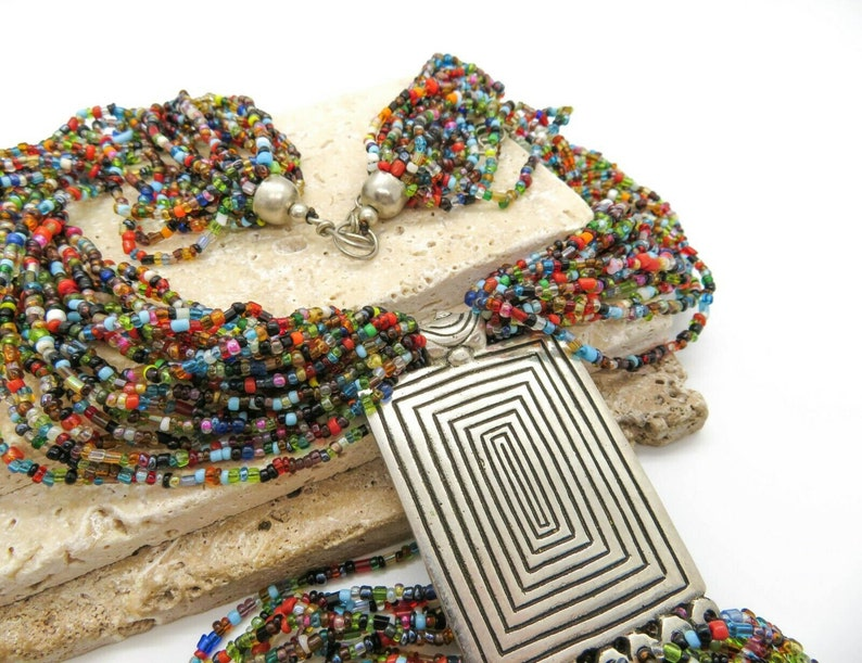 Vintage Huge Layered Multi-Color Glass Bead Silver Boho Statement Necklace P7
