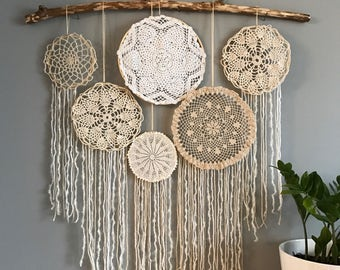 Vintage neutrals doily wall hanging