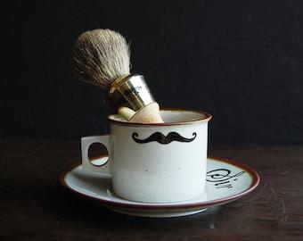 Painted Mustache Shaving Mug and Brush Set