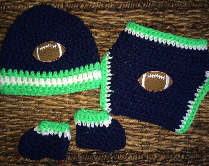 Seattle Seahawks Football Themed Baby Crochet Gift Set