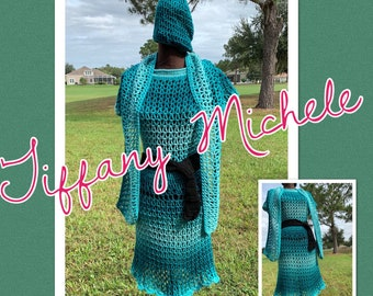 Teal Crochet Sweater Dress / Fall / Handmade / Comes with Scarf, Cap & Bet / Large