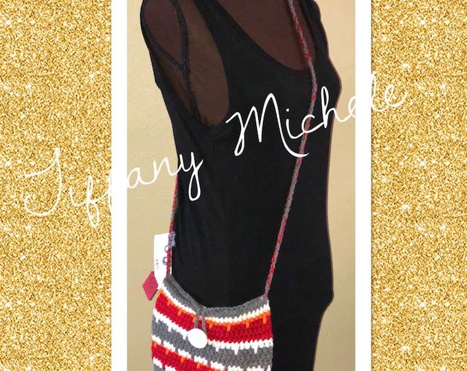 Bucs Football Theme Cross Body Bag / Handmade / Crochet / Purse Satchel