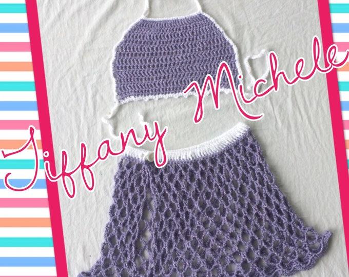 Handmade Glitter Grape Purple Kids Beach Outfit Halter Top Crop Top& Skirt 7/8 kids