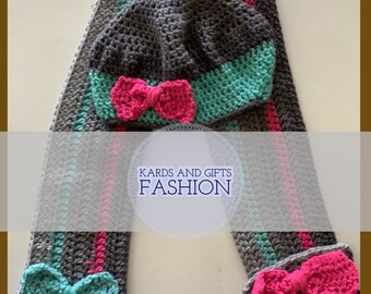 Cheesy Poof Toddler Beret and Scarf Gift Set Accessory / Teal Gray White / Handmade Crochet