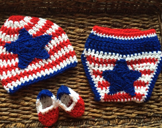 Patriotic USA Red White and Blue Baby Gift Set Beanie Diaper Cover and Booties