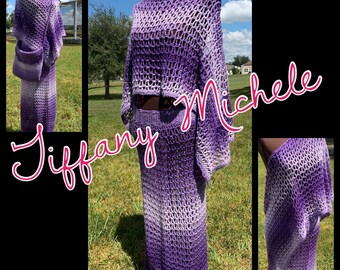 Purple Ombre Fashion Crochet Complete Outfit /Skirt, Poncho Tunic, Purse / Handmade