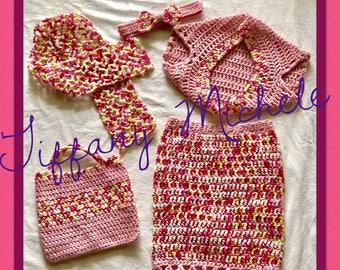 MARKDOWN Girls Skirt Outfit Fashion Set /Shrug Bolero Headband Purse Scarf / Handmade /Crochet