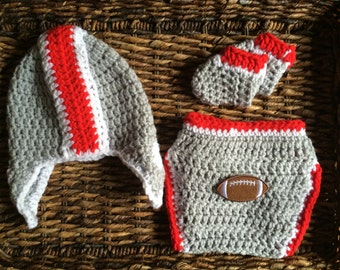 Red and Gray Crochet Baby Gift Set Helmet Hat Diaper Cover Booties Football