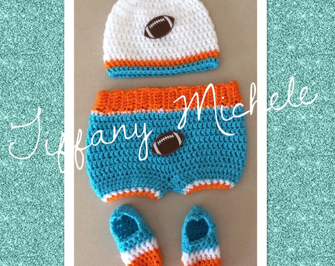 Miami Dolphins Inspired Baby Crochet Gift Set