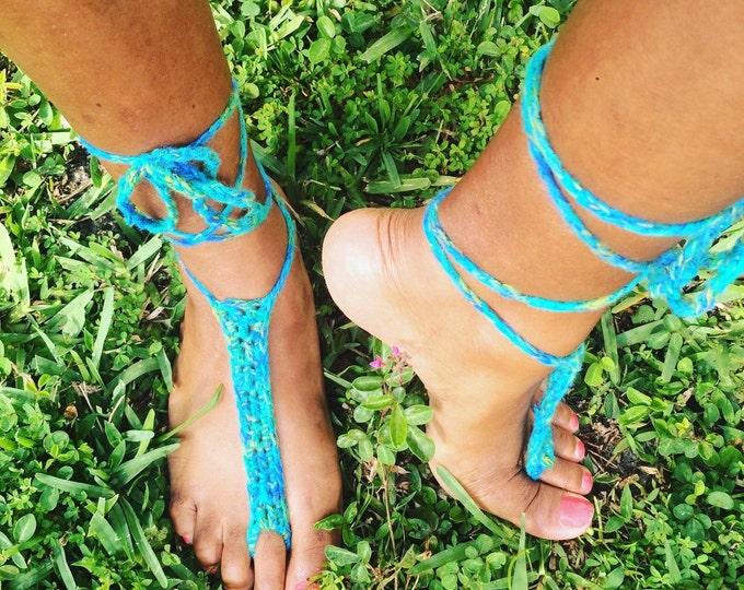 Sea Green Beach Feet Barefoot Sandals