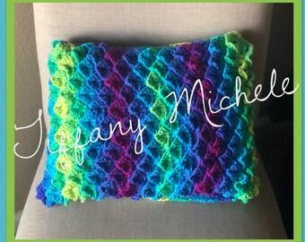 Handmade Crochet Sea Croc Pillow / Home Decor / 12x16