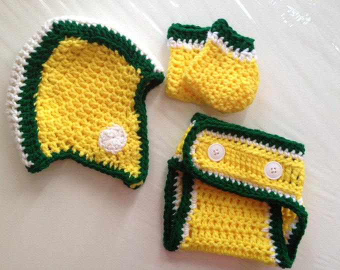Green Bay Packers Football Crochet Baby Helmet Hat Gift Set