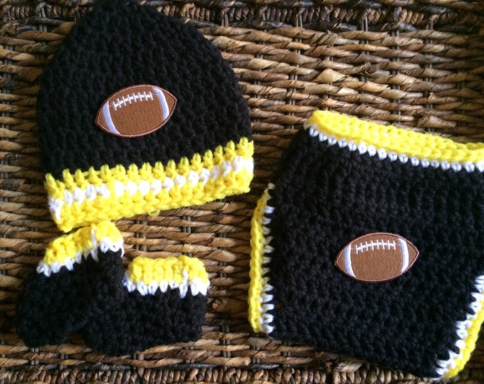 Crochet Baby Pittsburgh Steelers Football Theme Black and Yellow Gift Set