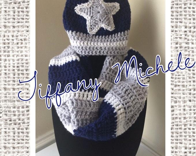 Dallas Cowboys Inspired Football Infinity Scarf and Beanie Adult Crochet Handmade