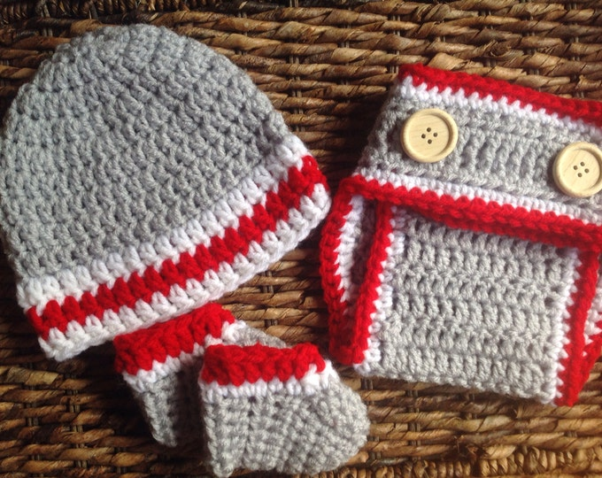 Crochet Baby Red and Gray Gift Set / Booties, Beanie & Diaper Cover / Handmade