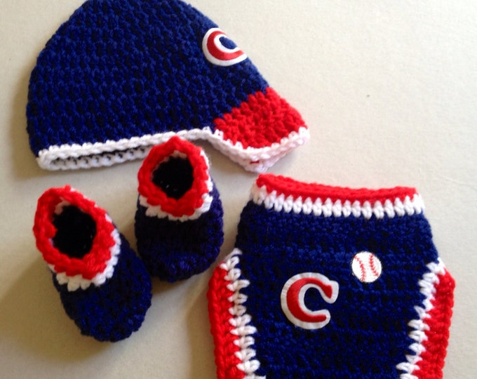 Baby Cleveland Baseball Theme Crochet Gift Set