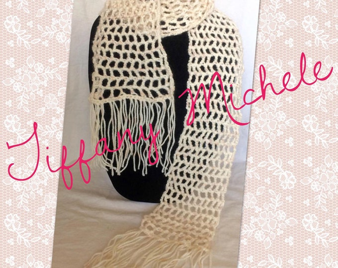 Light Pink Scarf with Fringe Handmade Crochet Accessory