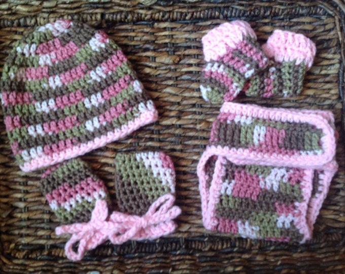 Baby Camouflage Army Fatigue Newborn Rose Pink Crochet Gift Set