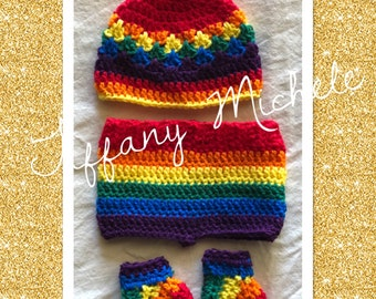 Rainbow Magic Baby Outfit / Beanie Diaper Cover & Booties / Handmade Crochet Gift Set