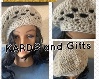 Cream Sparkle Winter Beret / Handmade Crochet (all colors available)