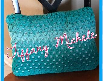 Handmade Crochet Teal Ombre Pillow / Home Decor