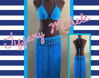 Blue Skirt and Bikini Bra Top Outfit / Beach Fashion Set / Handmade Crochet