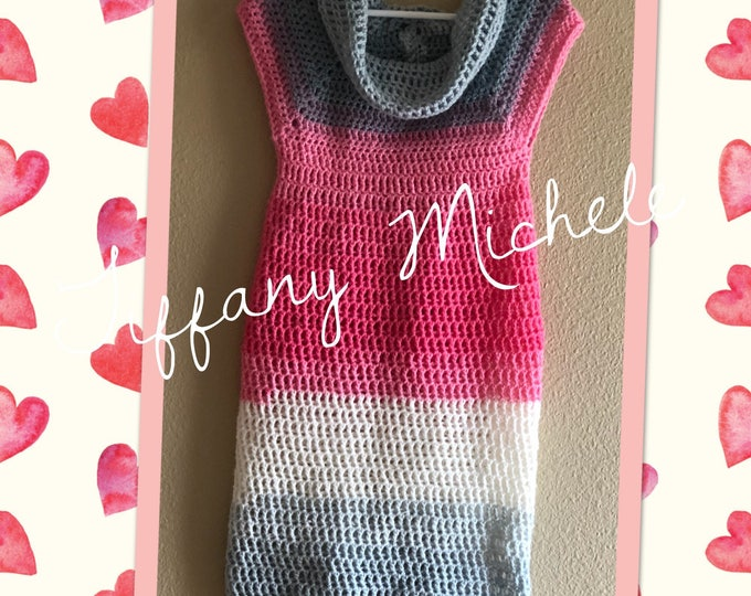 Kids Pink Party Sweater Dress / Size 8 / other sizes welcome / Crochet