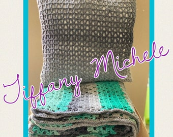 Gray and Teal Blanket ans Pillow Set / Crochet Handmade