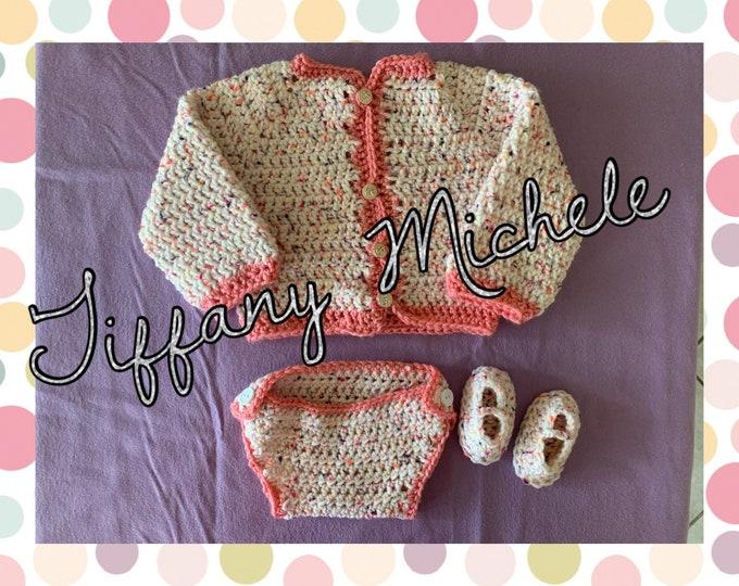 Newborn Baby Sweater Set / Handmade Crochet / Diaper Cover Slippers Cardigan