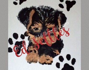 MARKDOWN Snickers the Yorkie Puppy Acrylic Original Signed Paiting Art