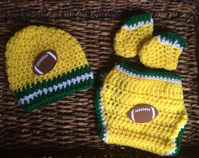 Crochet Baby Green Bay Packers Theme Gift Set
