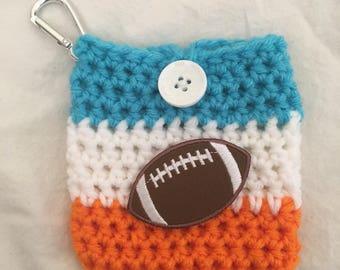 Aqua Orange Miami Football Inspired Coin Pouch Purse Wallet / Crochet / Handmade