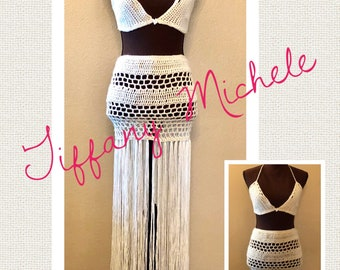Skirt and Bikini Bra Top Outfit / Beach Fashion Set / Handmade Crochet / Large