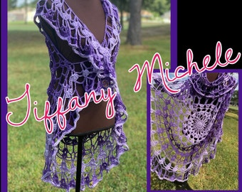 Purple Ombre Mandala Crochet Circle Vest / Handmade / Large
