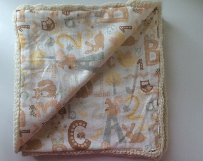 Baby Blanket Cream Neutral 30x30 Crocheted Fabric Lined